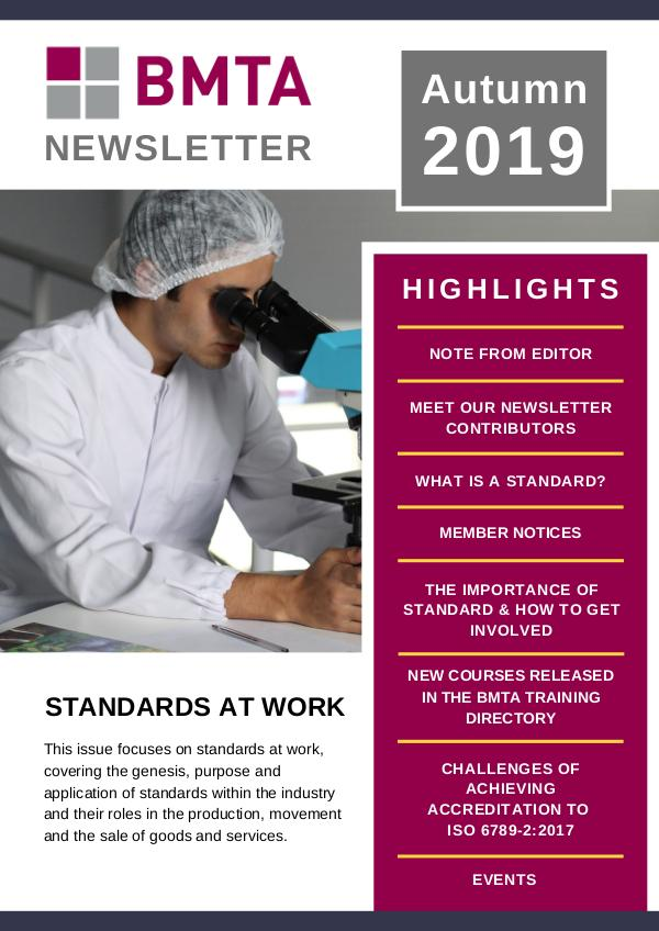 BMTA Newsletter BMTA Newsletter - Autumn 2019