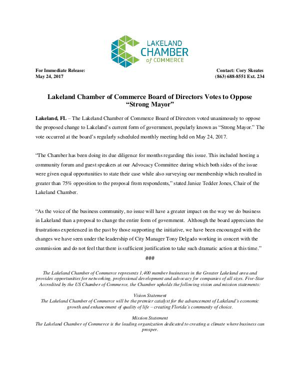 Public Affairs Documents Strong Mayor Press Release