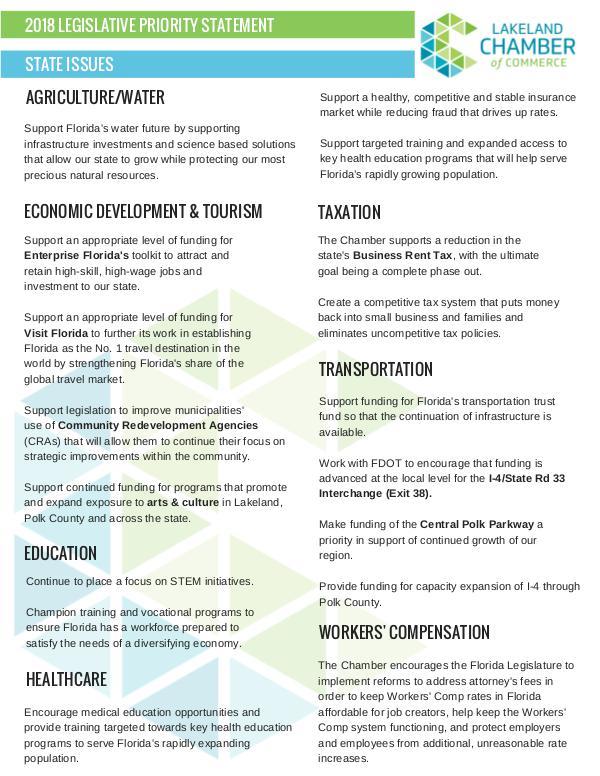 Public Affairs Documents 2018 Legislative Priorities