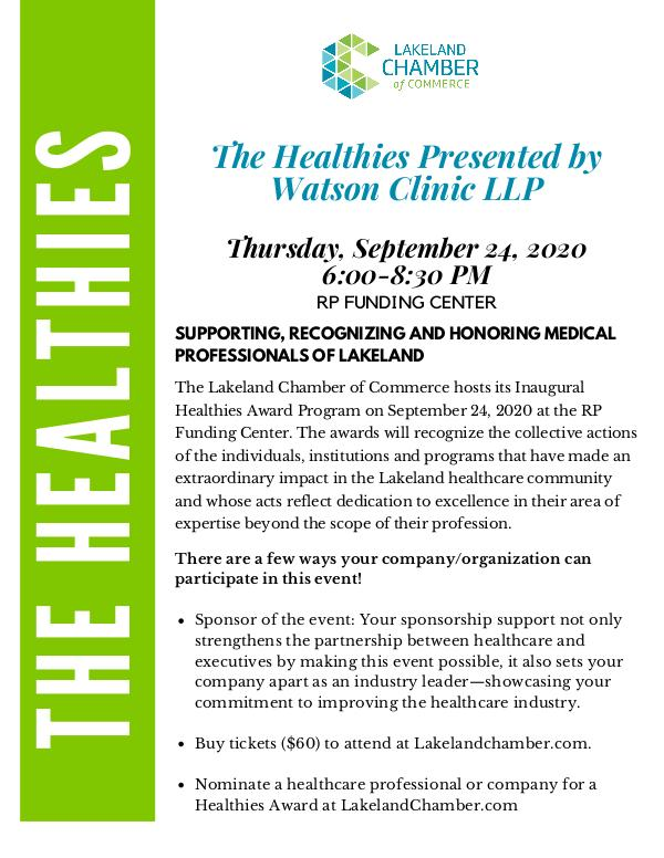 The Healthies Presented by Watson Clinic LLP Healthies Sponsorship Opportunities