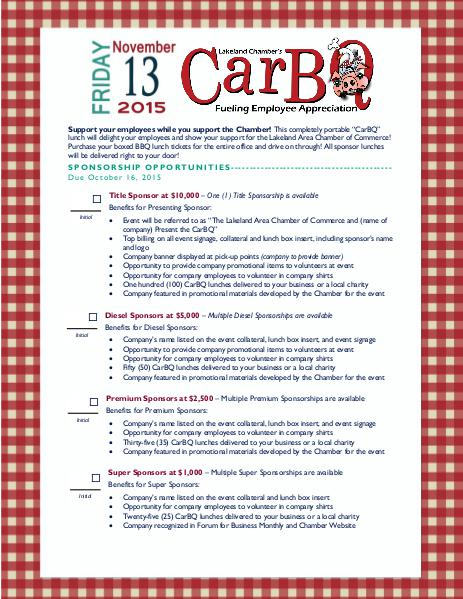 Chamber Forms CarBQ Sponsorship Form