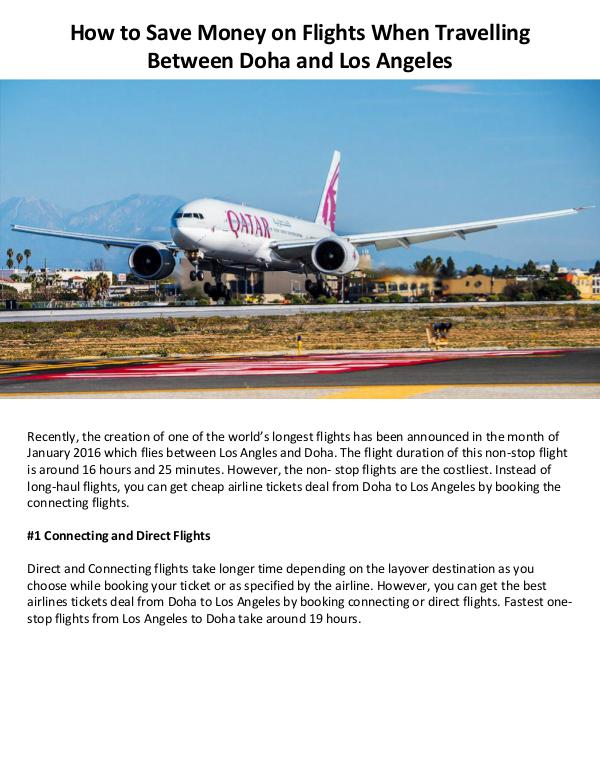 How to Save Money on Flights When Travelling Between Doha and Los Ang Volume 1