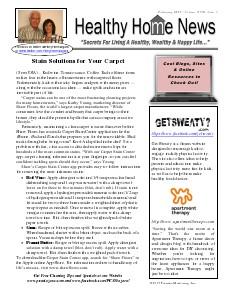 Healthy Home Newsletter February 2014 - Volume XVlll, Issue 2