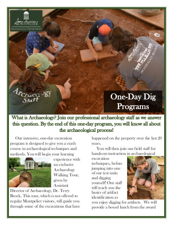 Montpelier Archaeology Public Programs (2019/2020) One-Day Dig