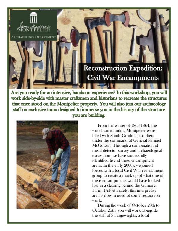 Montpelier Archaeology Public Programs (2019/2020) Reconstruction: Civil War Encampments