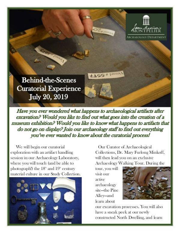 Montpelier Archaeology Public Programs (2019/2020) Curation Tour