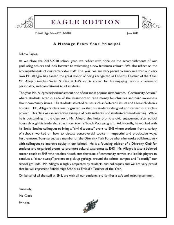 EHS Newsletter June 2018 FINAL