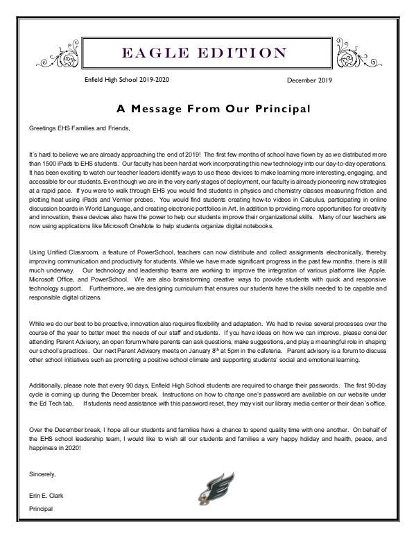Enfield High Newsletters - Eagle Edition EHS Newsletter- December 2019