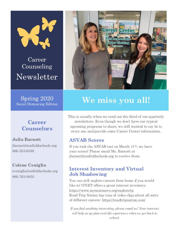 CareerCenterSpring 2020 Newsletter