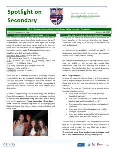 Spotlight on Secondary Newsletter Oct.11.2013