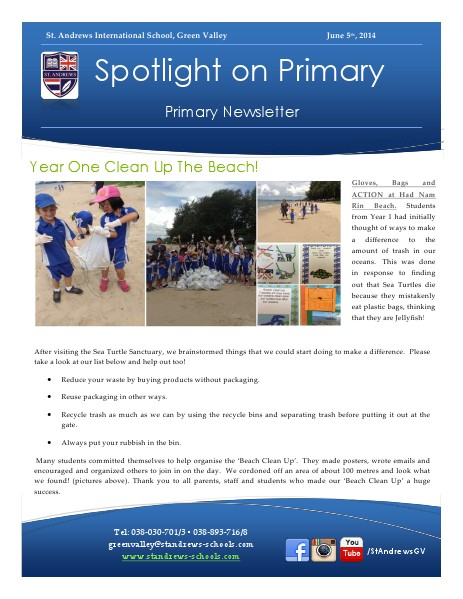 Spotlight on Primary Newsletter June 5, 2014