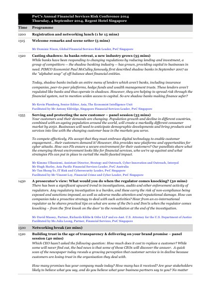 FS Risk Conference Agenda - 4 September 2014 September 2014