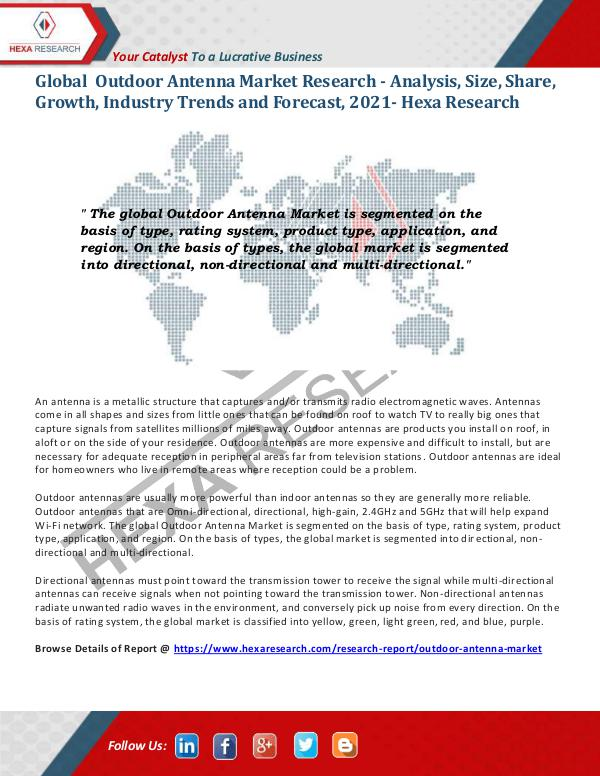 Semiconductors & Electronics Industry Outdoor Antenna Market Research Report 2021