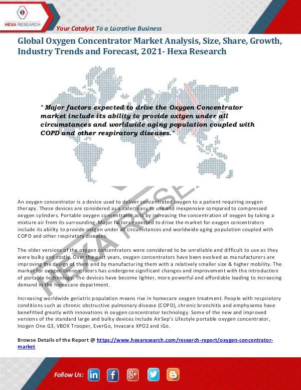Healthcare Industry Global Oxygen Concentrator Market Trends, 2021