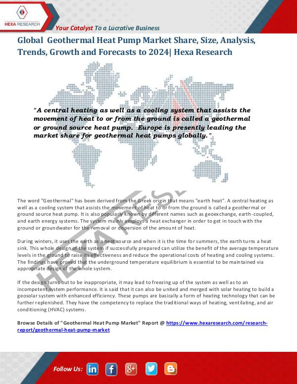 Geothermal Heat Pump Market Insights, 2024