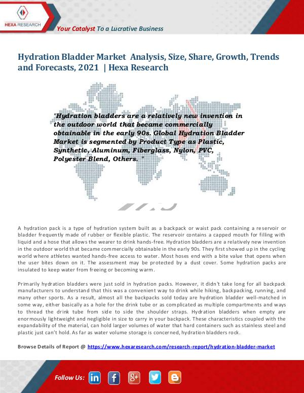 Market Research Reports : Hexa Research Hydration Bladder Market Insights, 2021