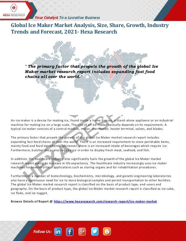 Ice Maker Market Growth, 2021
