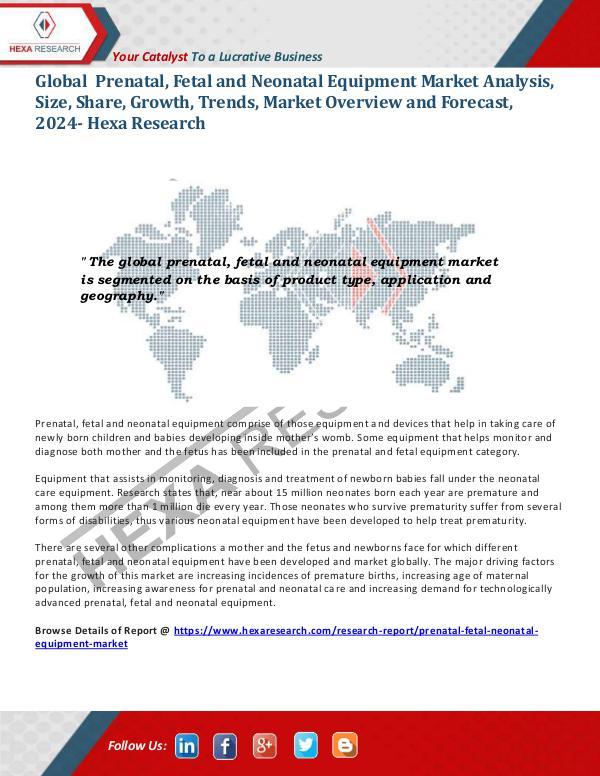 Healthcare Industry Prenatal, Fetal and Neonatal Equipment Market 2024