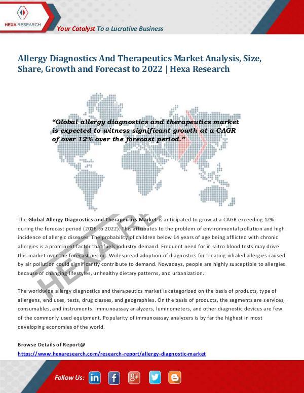Healthcare Industry Allergy Diagnostics and Therapeutics Market