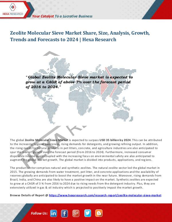 Specialty & Fine Chemicals Industry Zeolite Molecular Sieve Market Research, 2024