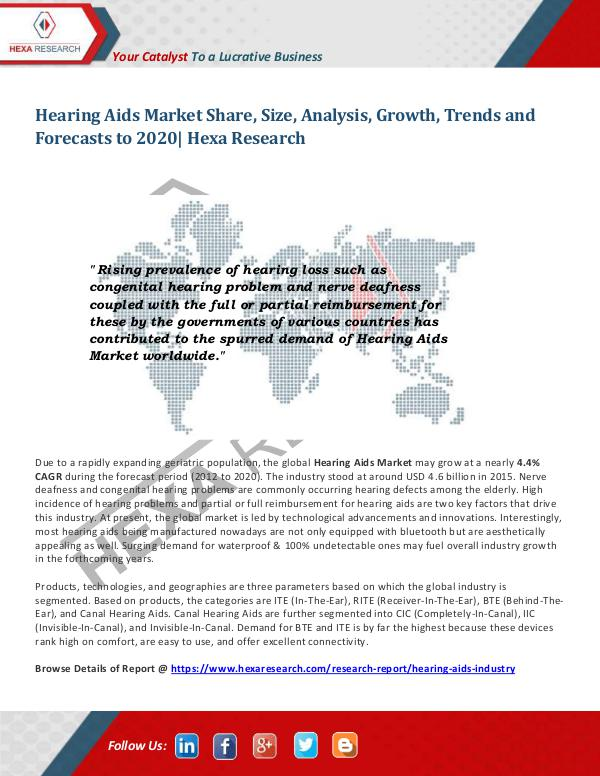 Healthcare Industry Hearing Aids Market Trends 2020