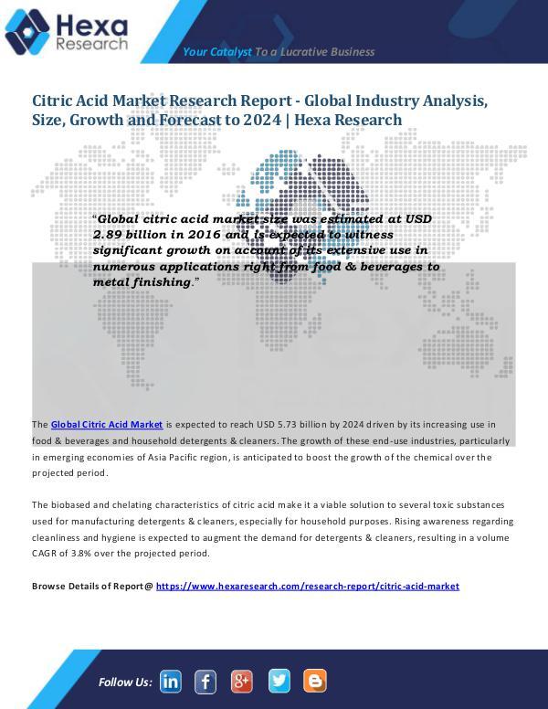 Citric Acid Market Size 2024