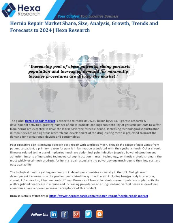Healthcare Industry Hernia Repair Market Size and Industry Demand 2024