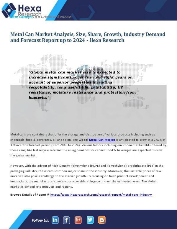 Metal Can Market Report 2024