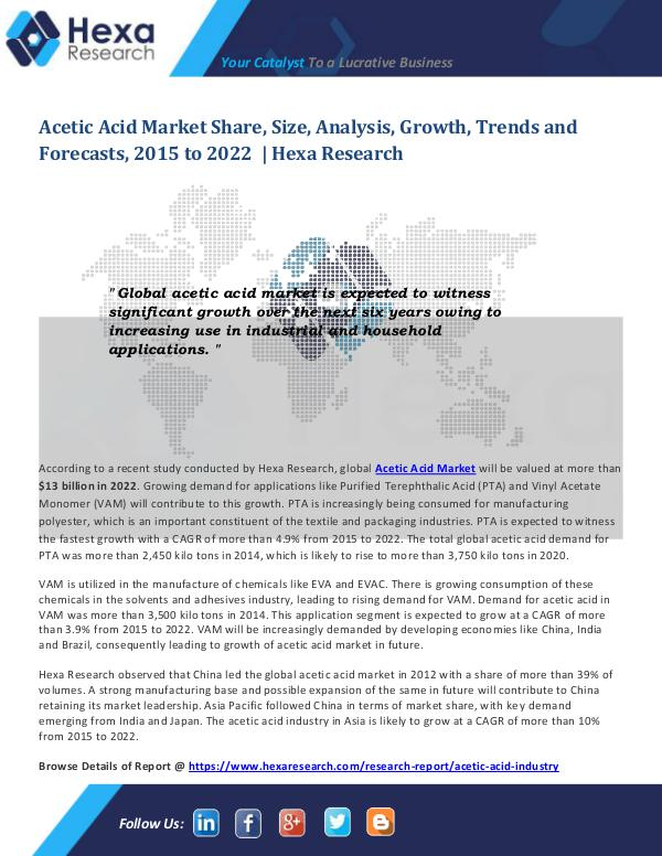 Bulkchemicals Market Reports Acetic Acid Market Size