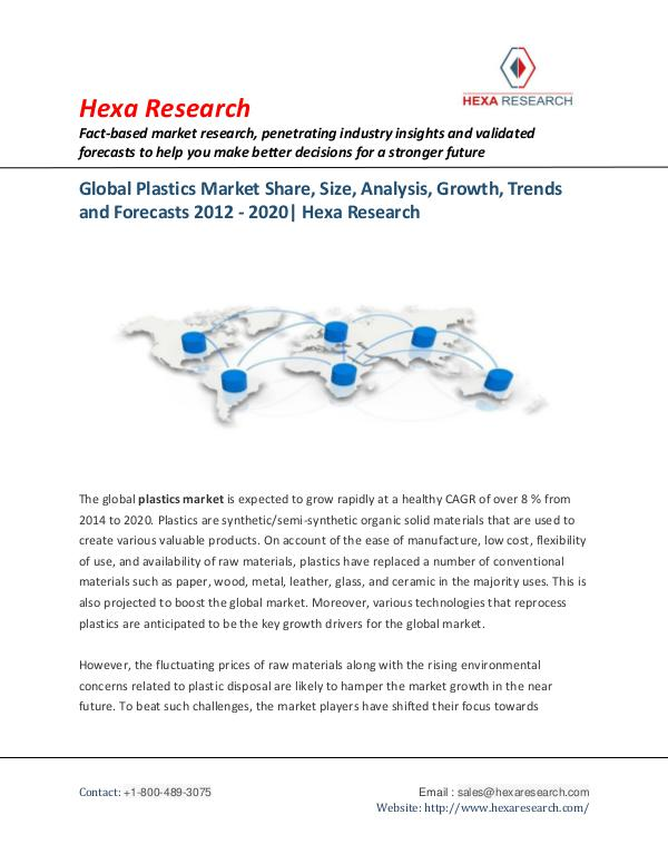 Bulkchemicals Market Reports Plastics Market Growth, Trends and Forecasts, 2020