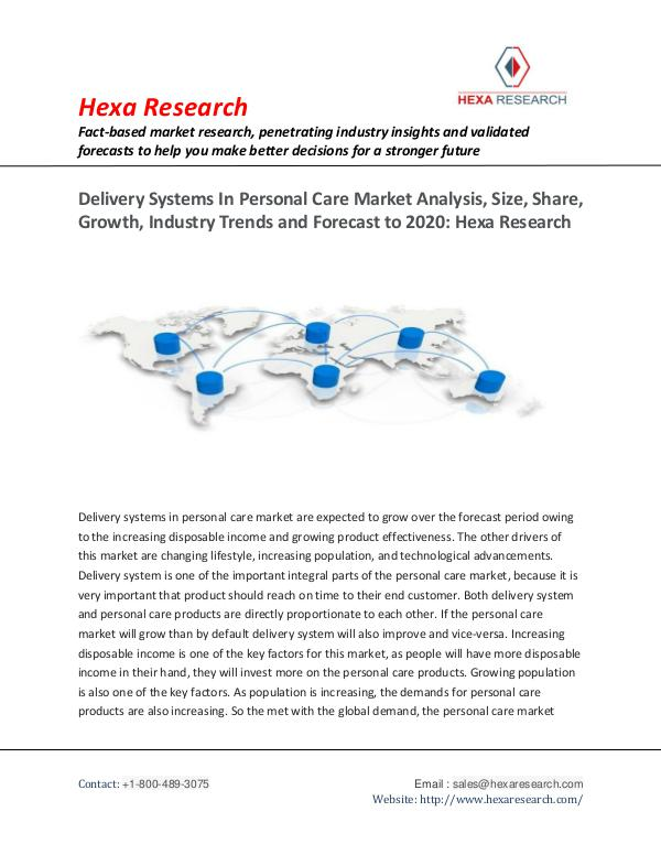 Delivery Systems In Personal Care Market Report