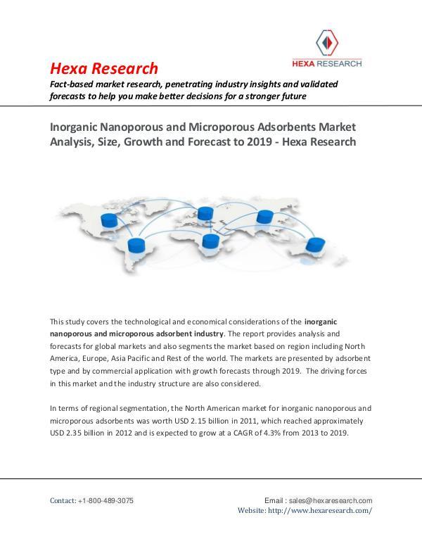Bulkchemicals Market Reports Inorganic Nanoporous & Microporous Adsorbents