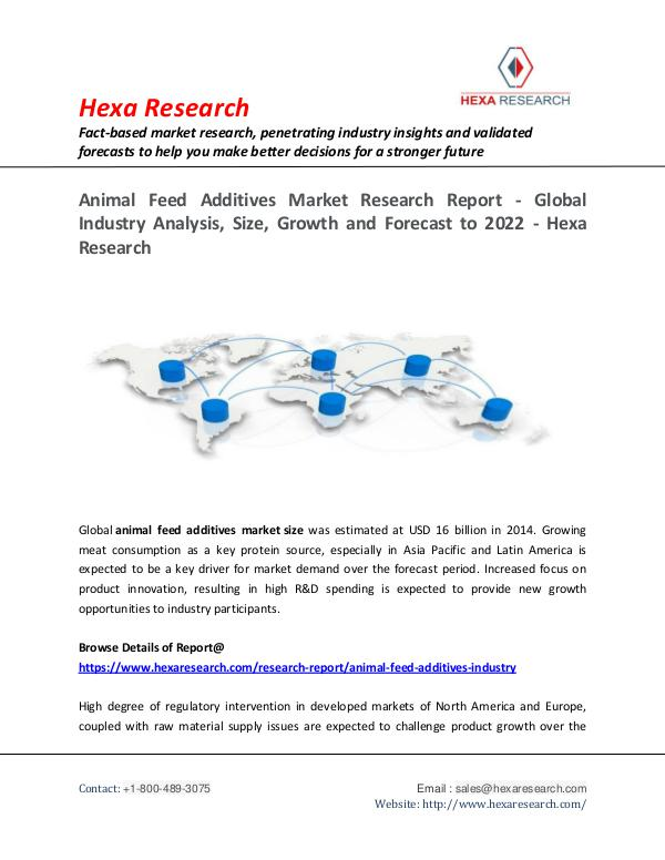 Food and Beverages Industry Report Animal Feed Additives Market, 2022