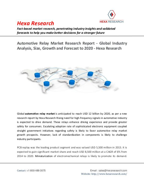 Automotive Relay Market Growth and Forecasts, 2020