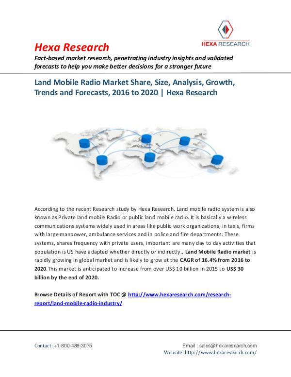 Technology Land Mobile Radio Market Trends, 2020