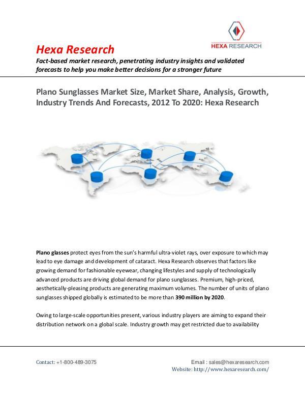 Advanced Materials Industry Plano Sunglasses Market Insights, 2020