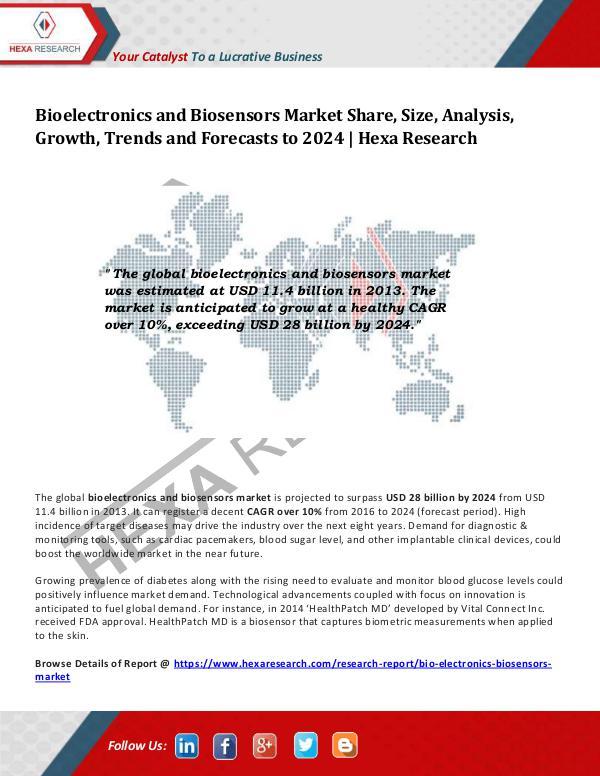 Healthcare Industry Bioelectronics and Biosensors Market Analysis