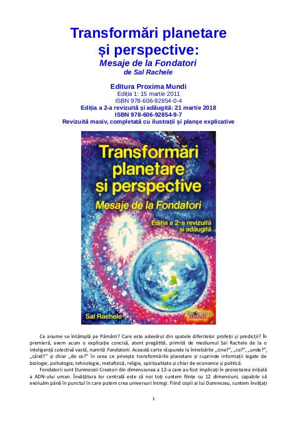 Carti publicate de Editura Proxima Mundi Transformări planetare și perspective