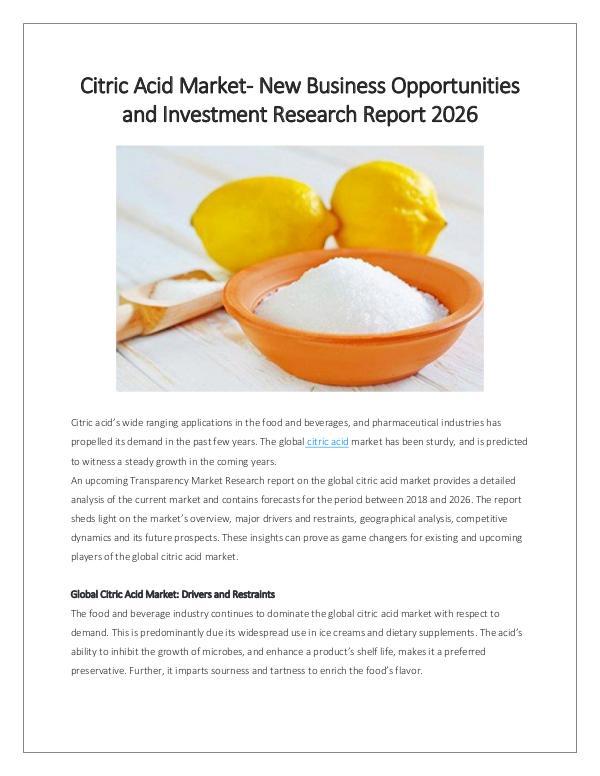 Market Research Citric Acid Market