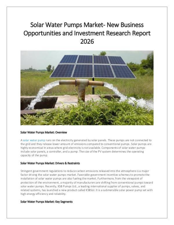Market Research Solar Water Pumps Market