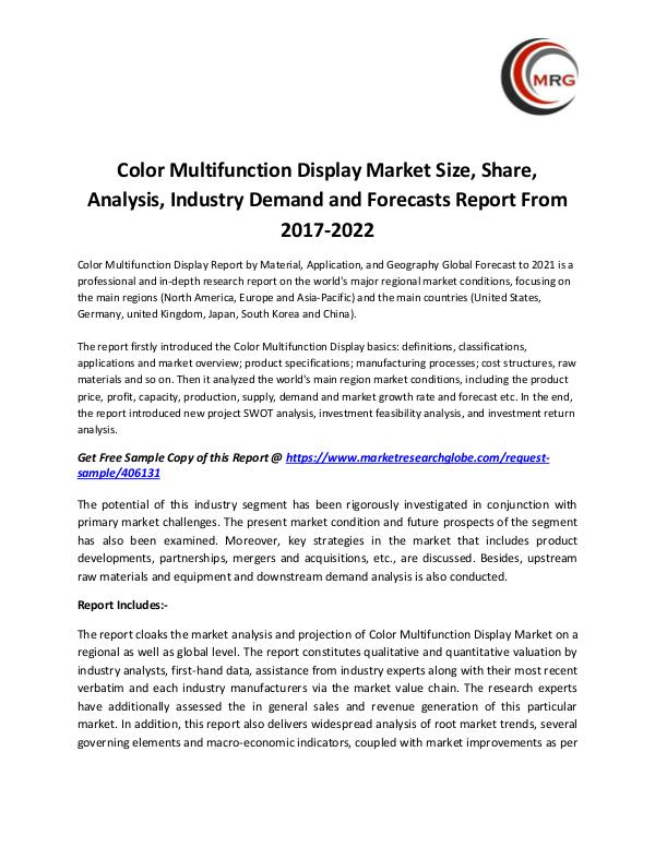 QY Research Groups Color Multifunction Display Market Size, Share, An
