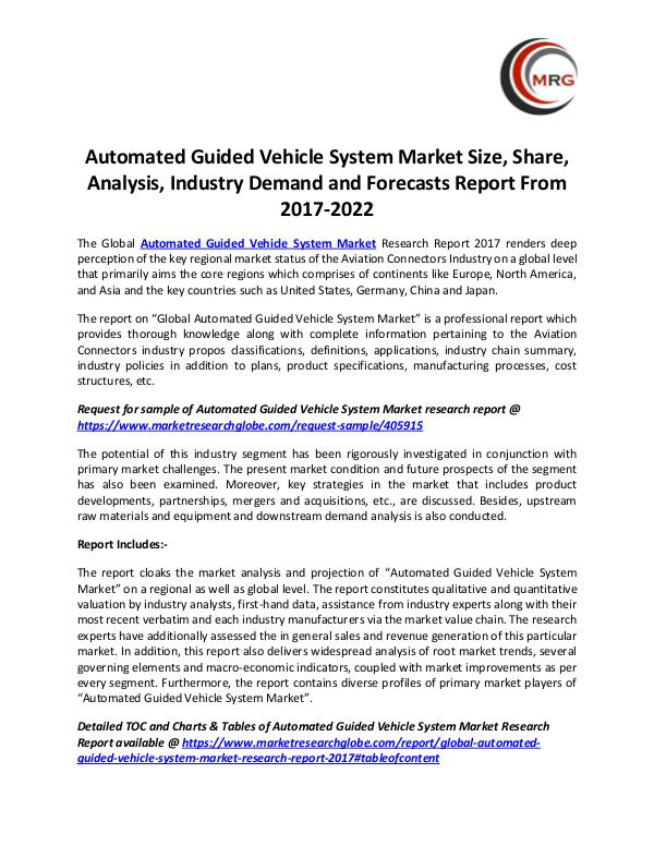 QY Research Groups Automated Guided Vehicle System Market Size, Share