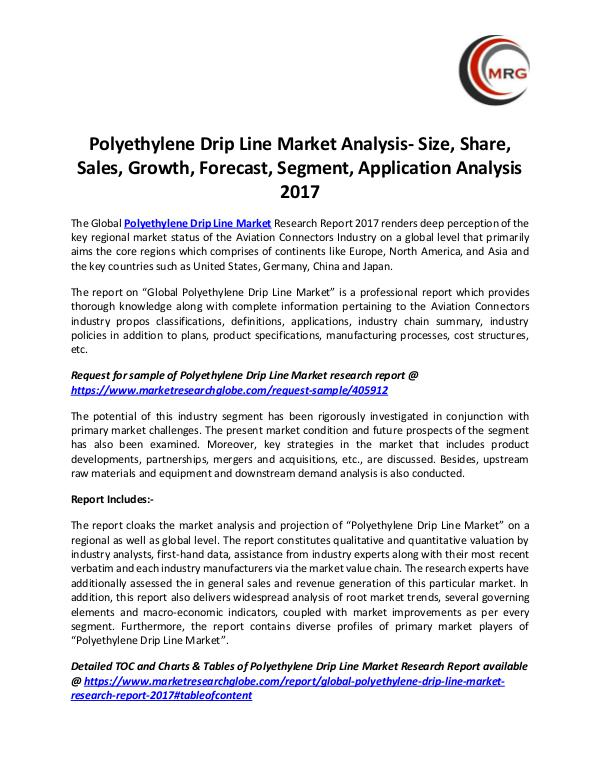 QY Research Groups Polyethylene Drip Line Market Analysis- Size, Shar