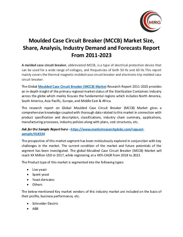 QY Research Groups Moulded Case Circuit Breaker (MCCB) Market Size, S