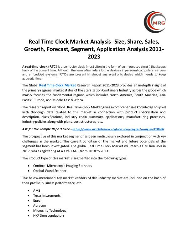 QY Research Groups Real Time Clock Market Analysis- Size, Share, Sale