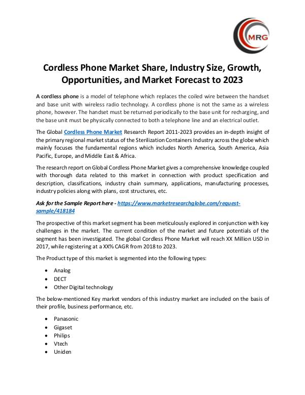 QY Research Groups Cordless Phone Market Share, Industry Size, Growth