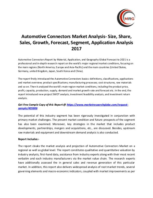 QY Research Groups Automotive Connectors Market Analysis- Size, Share