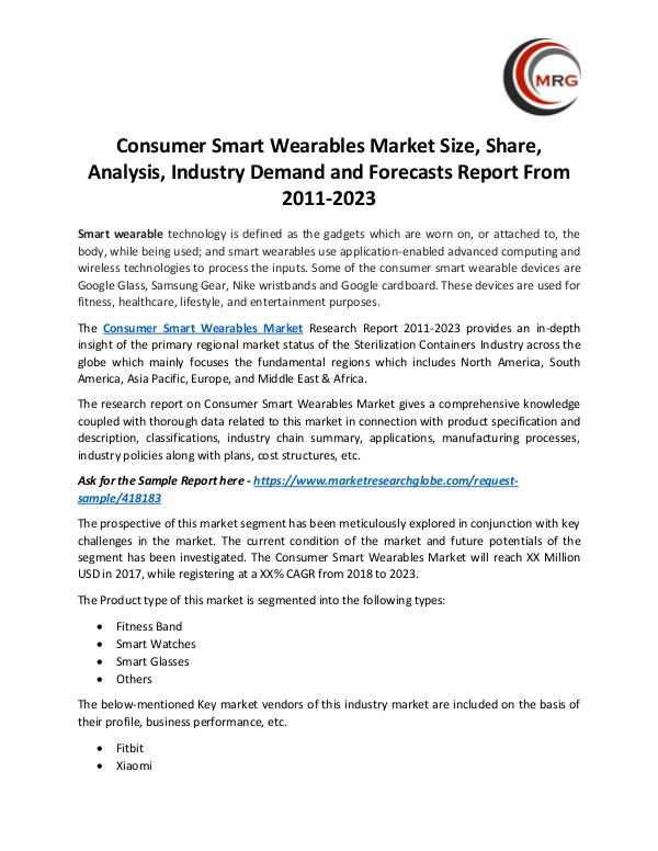 QY Research Groups Consumer Smart Wearables Market Size, Share, Analy