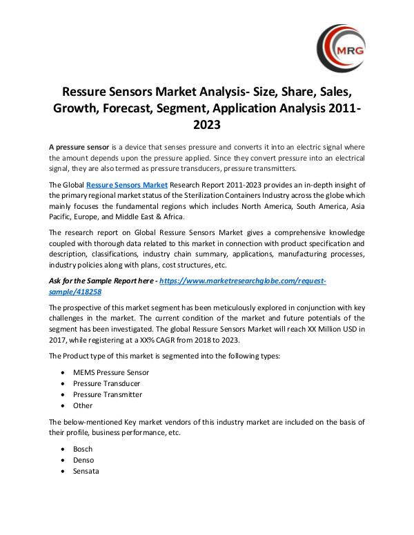 QY Research Groups Ressure Sensors Market Analysis- Size, Share, Sale