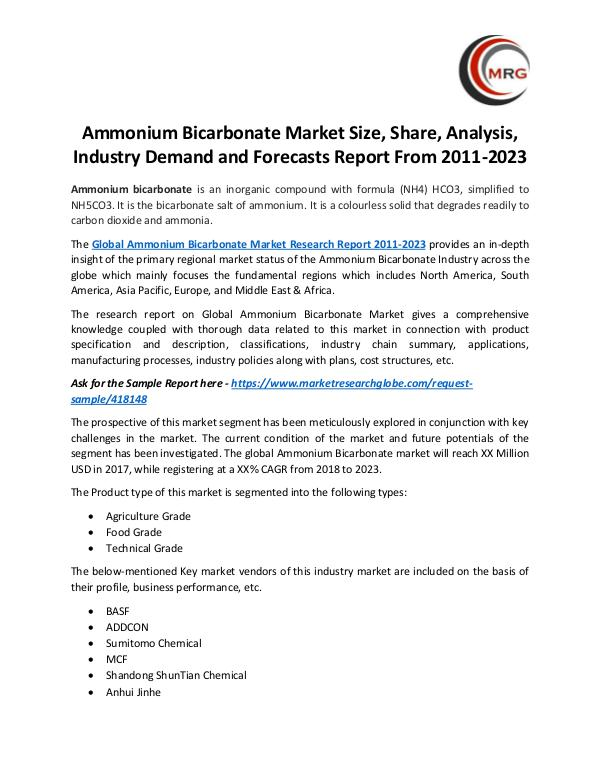 QY Research Groups Ammonium Bicarbonate Market Size, Share, Analysis,